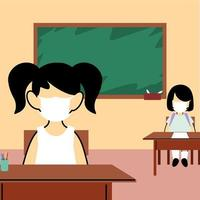 barnelever som bär ansiktsmask i klassen