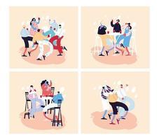 Karten mit Menschen, die feiern und Gesichtsmaske verwenden