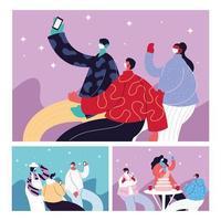 kort med människor som firar och använder ansiktsmask