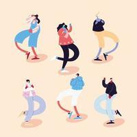 Gruppe von Menschen tanzen und mit Gesichtsmasken