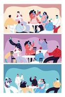 kort med människor som firar och använder ansiktsmask vektor