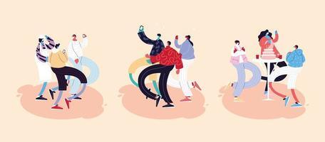 Gruppe von Menschen tanzen und mit Gesichtsmasken vektor