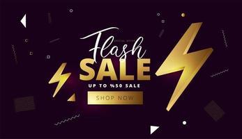 flash försäljning guld banner eller affisch design vektor