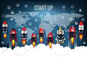 Geschäftsleute auf Raketen-Startkonzept