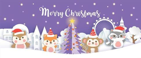 Weihnachtsbanner mit Tieren vektor