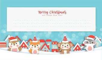Weihnachtsgrußkarte mit niedlichen Tieren vektor