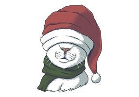 Katze trägt eine Weihnachtsmütze vektor