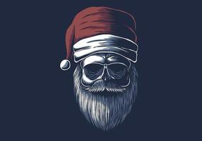 Schädel trägt eine Weihnachtsmütze vektor