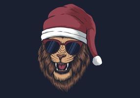 Löwe trägt eine Weihnachtsmütze vektor