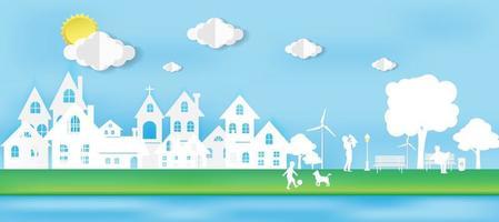 pojke och hund på gräsplan gröna staden ekologi koncept vektor