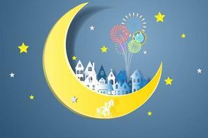 Frohes neues Jahr mit Stadt auf Mond