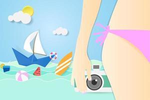 sommarförsäljning tropisk stranddesign vektor