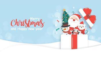 Weihnachtsentwurf mit Weihnachtsmann und Freunden im Geschenk vektor