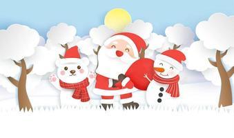 Santa und Freunde in der Winterszene Papierkunstdesign vektor