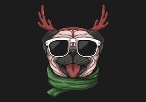 Mops Hund trägt Geweih Stirnband und Sonnenbrille