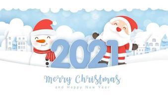 Weihnachten und Neujahr 2021 Papierkunst Winterszene vektor