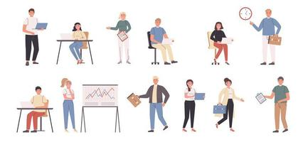 Firmenmitarbeiter, Geschäftsleute und Geschäftsfrauen flacher Zeichensatz vektor