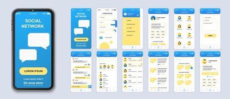 blaues und gelbes soziales Netzwerk ui mobile App-Schnittstellenvektor vektor
