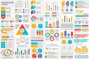 färgglada infografiska element datavisualiseringspaket