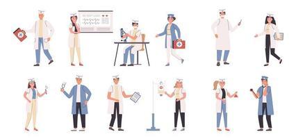 läkare och sjuksköterskor platt karaktärsuppsättning