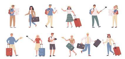 Touristen, männliche und weibliche Reisende flacher Zeichensatz vektor
