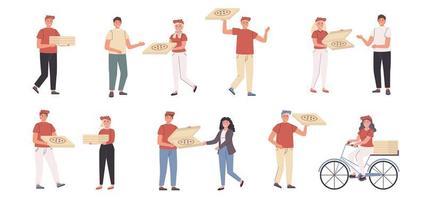 Pizza-Lieferboten und Kunden flacher Zeichensatz vektor