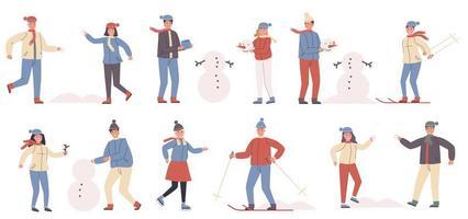 Wintersport und Erholung flacher Zeichensatz vektor