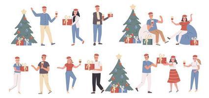 nyårsfest, julfirande platt karaktärsuppsättning