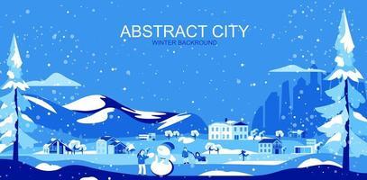 blått tonat förortslandskap med hus och människor vektor