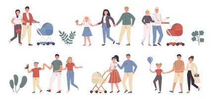 Familienfreizeit, Unterhaltung, draußen zu Fuß flacher Zeichensatz vektor