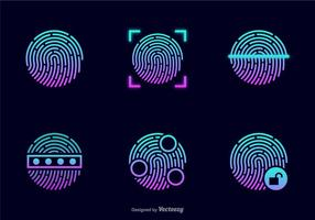 Glödande Stöld Fingerprint Vector Icons