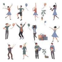 fröhliche Leute bei Party-Zeichentrickfiguren eingestellt vektor