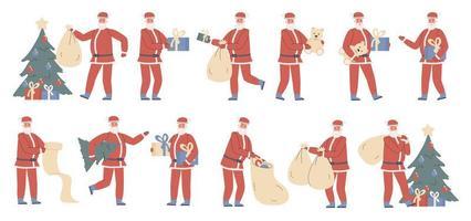 Weihnachtsmann mit Weihnachtsgeschenken flachen Zeichensatz vektor