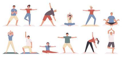 Yoga posiert und übt flachen Zeichensatz vektor