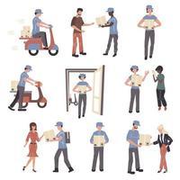 postkontorsarbetare och klienters teckenuppsättning vektor