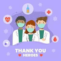 tack för vårdpersonal vektor