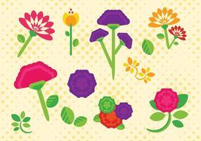 Flache Gartennelken-Blumen Free Vector