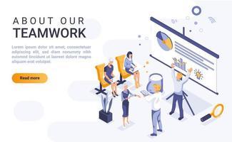 über unsere isometrische Landingpage für Teamarbeit
