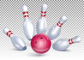 Bowlingkugel trifft die Stifte
