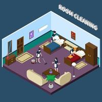isometrisk hotellinredning med rengöring av pigor vektor