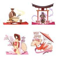 japansk retro tecknad ikonuppsättning