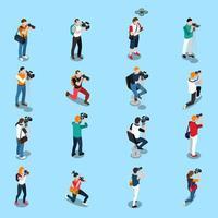 människor med kameror isometrisk ikonuppsättning vektor