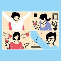 Menschen in Video-Chat-Frames feiern