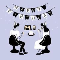 Frau und Mann mit Partyhüten und Bildschirmen