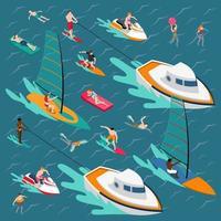vattensporter isometriska människor vektor