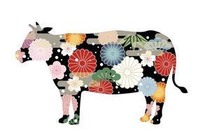 Jahr der Ochsen-Silhouette mit japanischem Muster verziert vektor