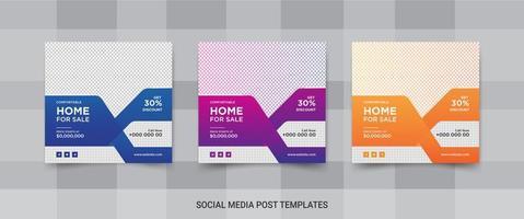 eleganta sociala medieinlägg för fastigheter eller hemförsäljningar vektor