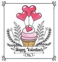 cupcake med hjärtan ballonger för alla hjärtans dag