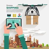 Drohnen Versand Design im flachen Stil vektor