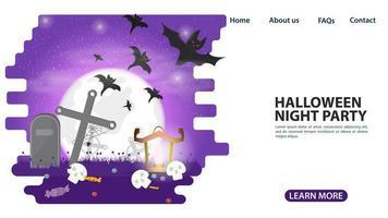 halloween måne på kyrkogården med fladdermöss webbdesign vektor